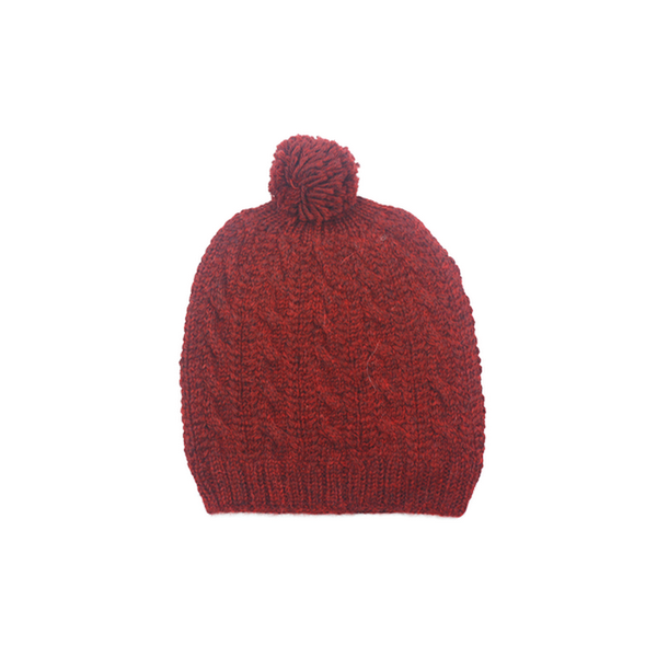 Concept store brussels Bellepaga baby alpaca red twisted beanie with pompom one