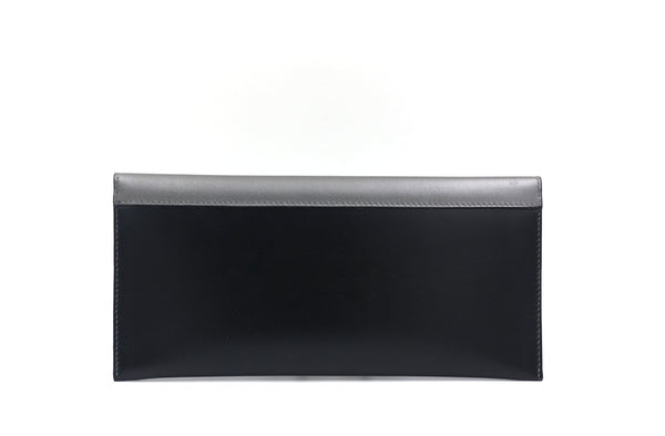 Black clutch with grey flap