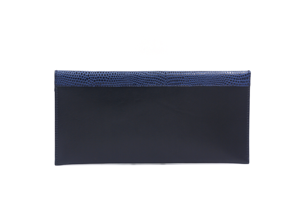 black clutch with blue flap michael guerisse oleary brussels concept store two