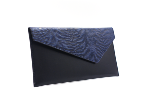 black clutch with blue flap michael guerisse oleary brussels concept store three