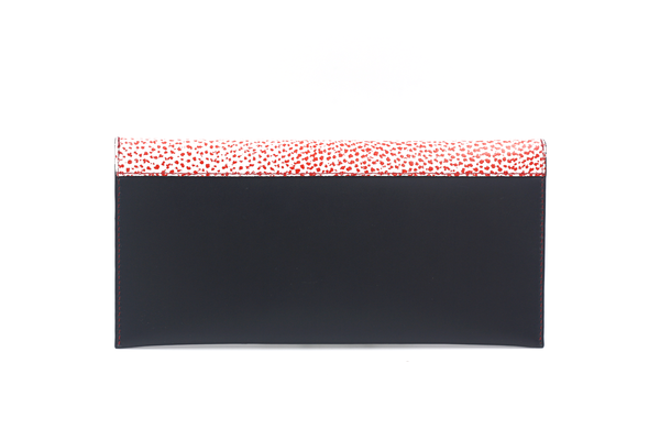 black clutch with red and white flap michael guerisse oleary brussels concept store back