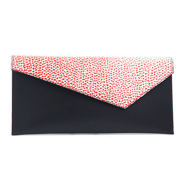 Black clutch red white flap michael guerisse oleary brussels concept store front
