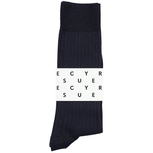 Classic ribbed socks navy escuyer brussels concept store