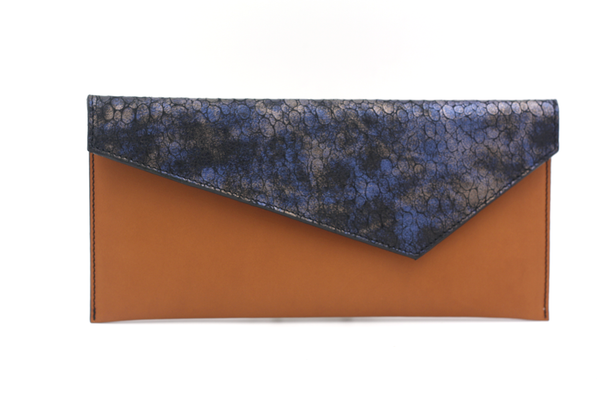 Cognac & Blue Envelope Clutch