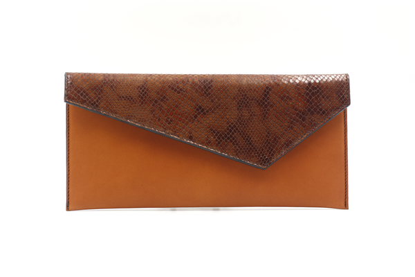 Cognac & Croco Effect Envelope Clutch