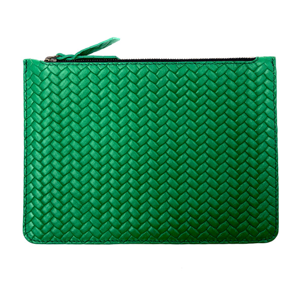Braided Emerald Green Maxi pouch