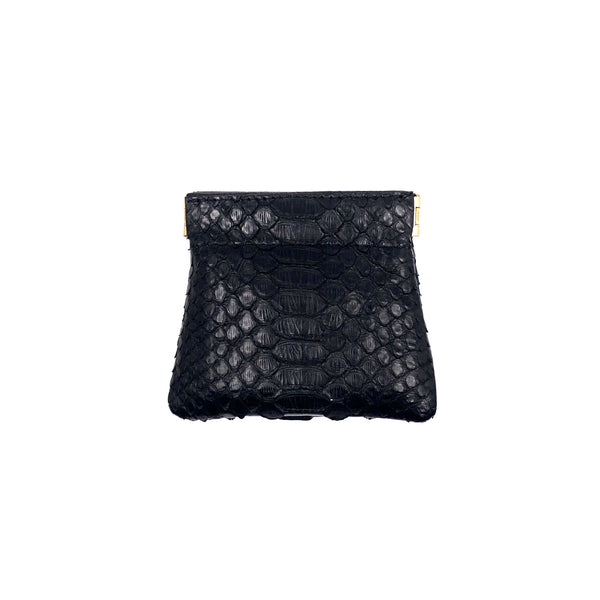 Black python snap top coin purse