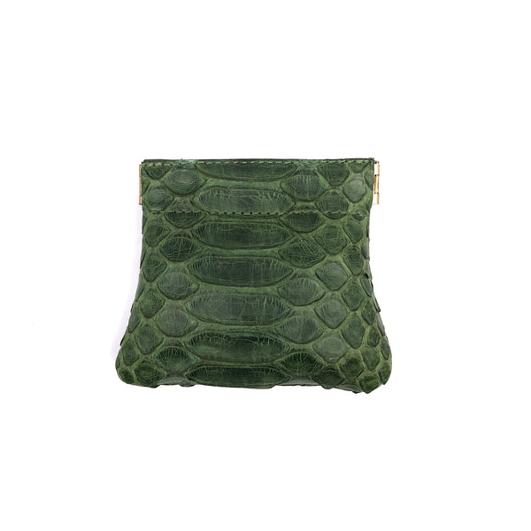 Olive green python snap top coin purse