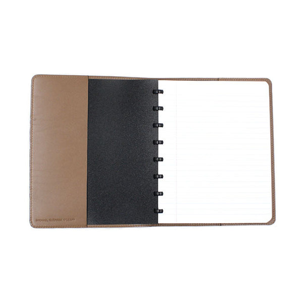 Natural leather cover for atoma notebook michael guerisse oleary brussels concept store two
