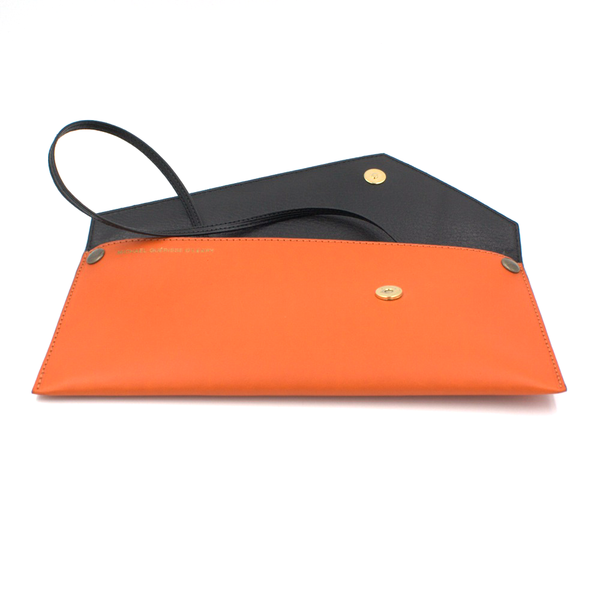 orange black clutch removable strap michael guerisse oleary three