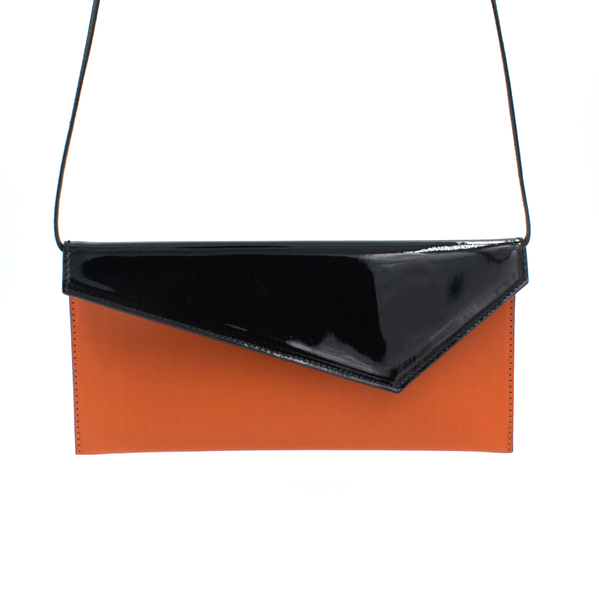 orange black clutch removable strap michael guerisse oleary two