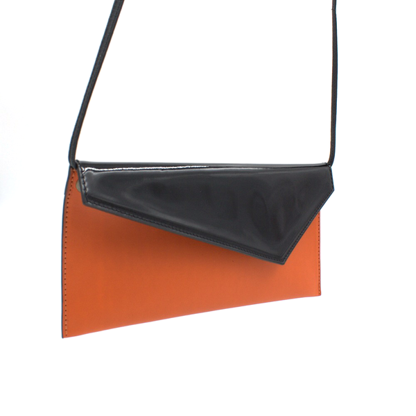 orange black clutch removable strap michael guerisse oleary
