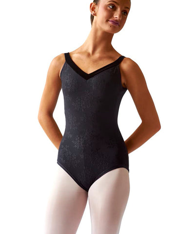 Embossed Velvet Strap Leotard, elastic-free, stretchy velvet straps for girls and women.