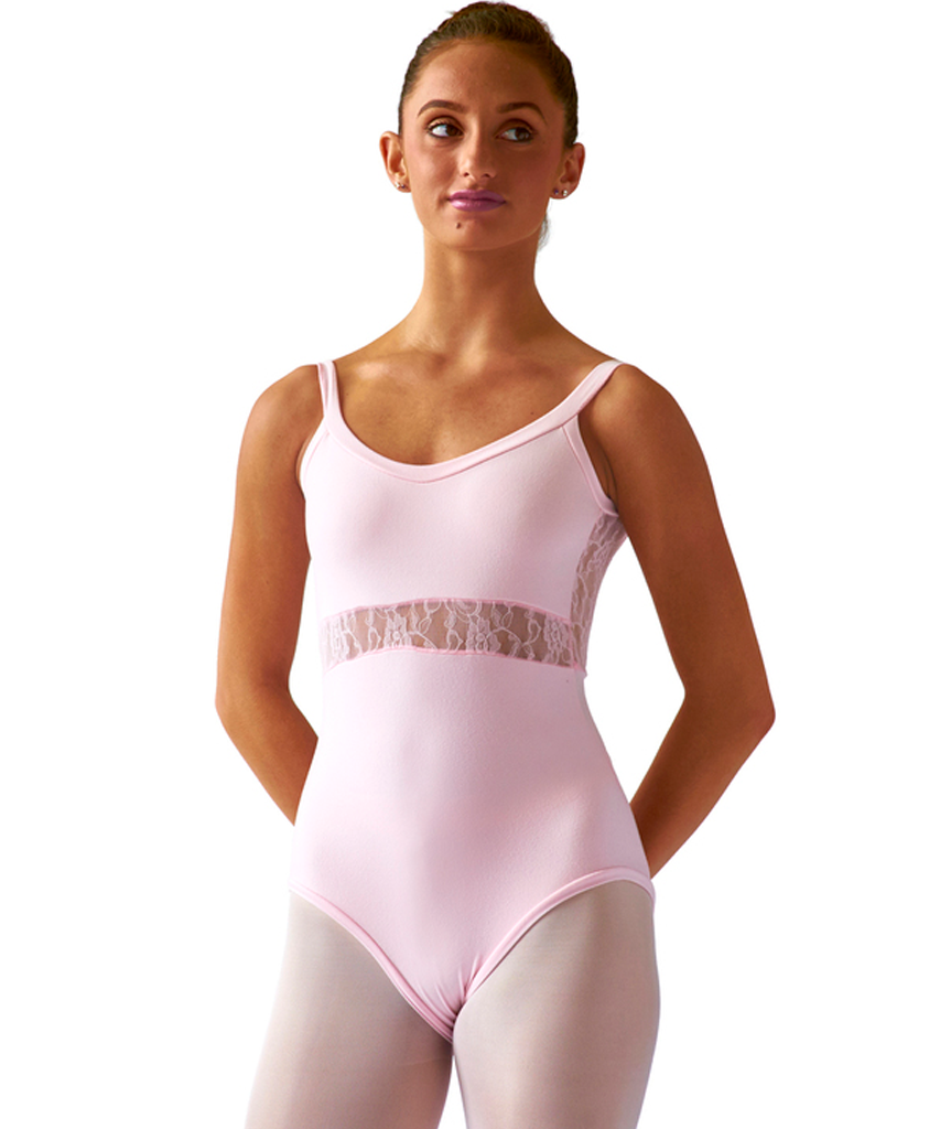 Crossed Back Cami Leotard with Lace - SteelCore