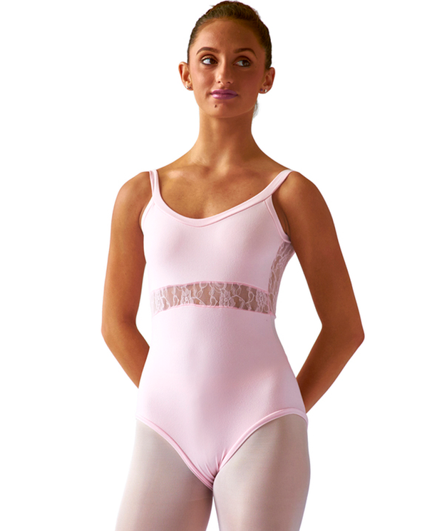 Crossed Back Cami Leotard with stretchy Lace Inset, soft and pretty, ultra comfortable with elastic-free construction and no center front seam.