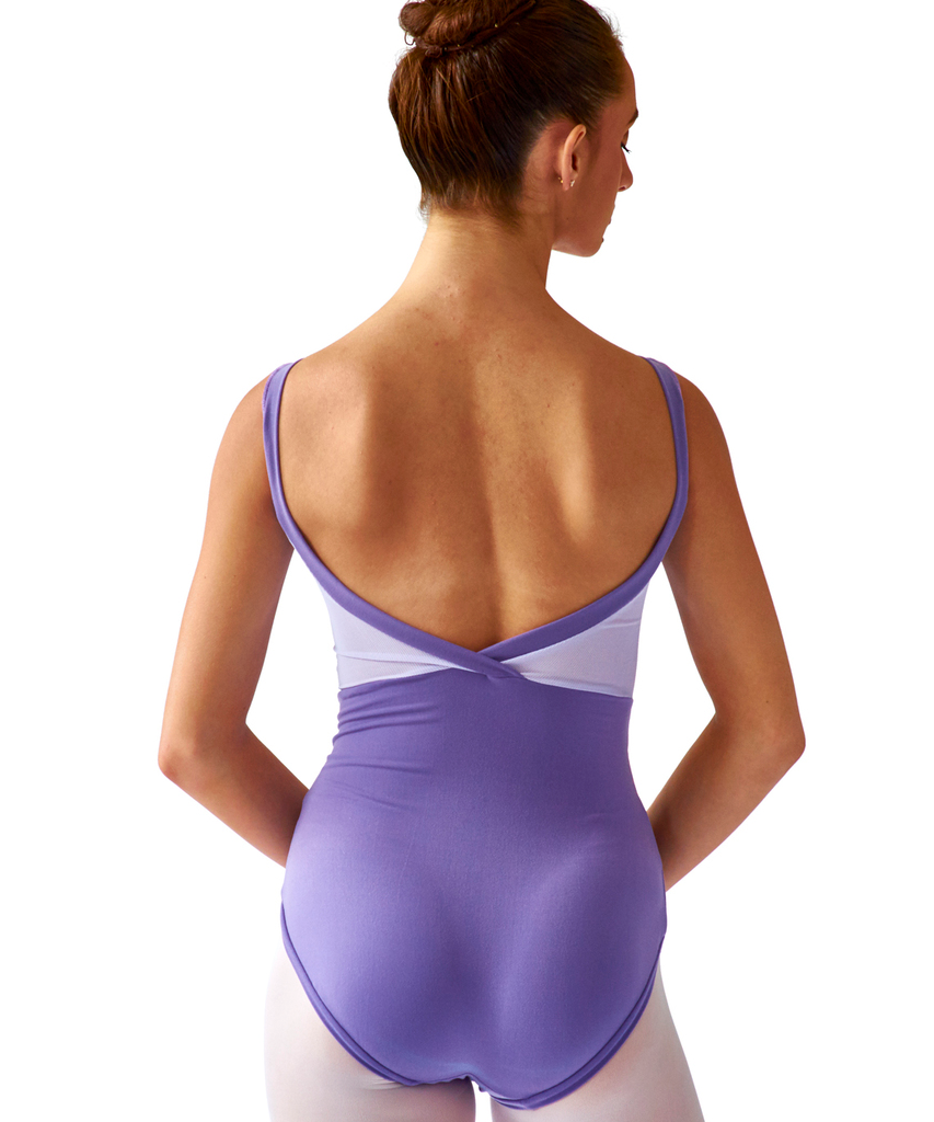 Crossed Back Cami Leotard with Mesh