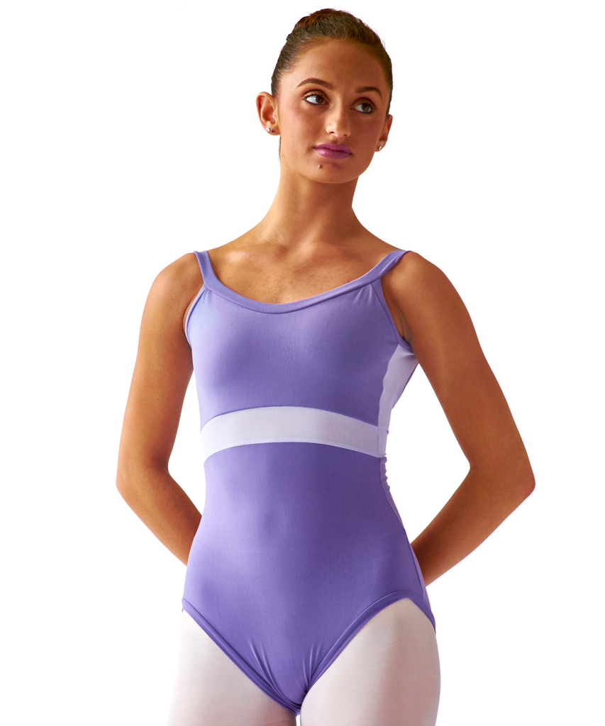 Crossed Back Cami Leotard with Mesh - SteelCore