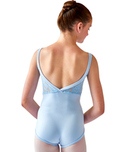 Crossed Back Cami Leotard, Lace Inset - SteelCore