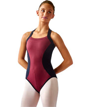 Hourglass Halter Leotard in high-powered performance fabric, with a contrasting front panel and flattering hourglass design, all with no center front seam  and elastic-free, all-day comfort.