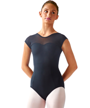 Sweetheart Mesh Cap Sleeve Leotard - SteelCore