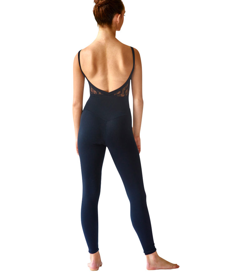 Crossed Back Cami Unitard, Supplex with Lace Inset - SteelCore