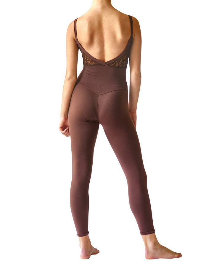 Crossed Back Cami Unitard, Soft Motion with Lace Inset - SteelCore