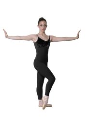 Velvet Bodice Unitard with Thin Straps, a classy dressed-up stretch velvet bodice, long lines with unique hip seaming, and elastic-free design that won't ride up or bind even after hours of hard work.  Feels like a second skin, wicks moisture to keep you cool and comfortable.  Thin straps complete the classic design.