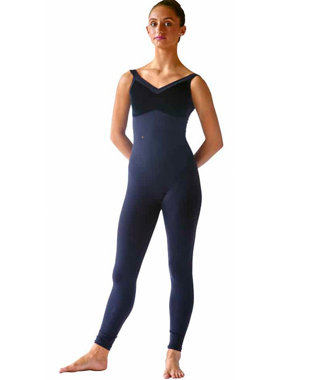 Velvet Bodice Unitard with Wide Straps - SteelCore