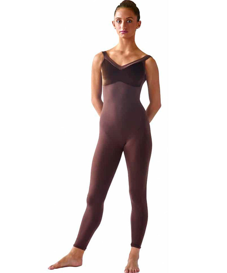 Velvet Bodice Unitard with Wide Straps, a classy dressed-up stretch velvet bodice, long lines with unique hip seaming, and elastic-free design that won't ride up or bind even after hours of hard work.  Feels like a second skin, wicks moisture to keep you cool and comfortable.  Wide straps provide more support, and complete the classic design.