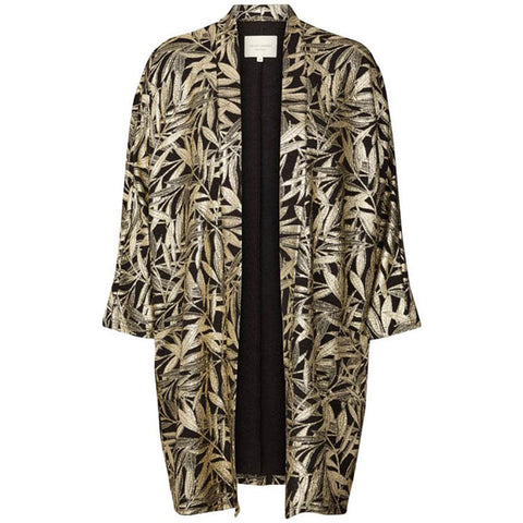 Lollys Laundry Black and Gold Botanical Print Kimono