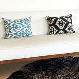 Handmade Blue Ikat Cushion Silk 40x50cm - Cover & Insert
