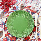 Japanese ceramic green plate diner table setting