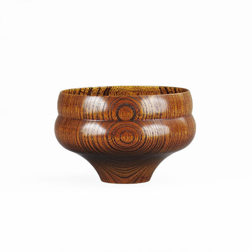 Japanese Wooden Bowl Tsumugi Hisago-Gata Brown