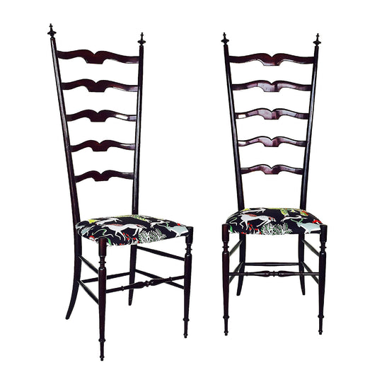 The Roaming Chair Chairs Pair of Vintage Chiavari High Back Chairs Italy 1950s