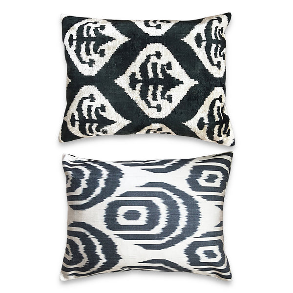 The Roaming Chair cushion Authentic Ikat Cushion Double Sided Velvet/Silk 40x50cm - Baku