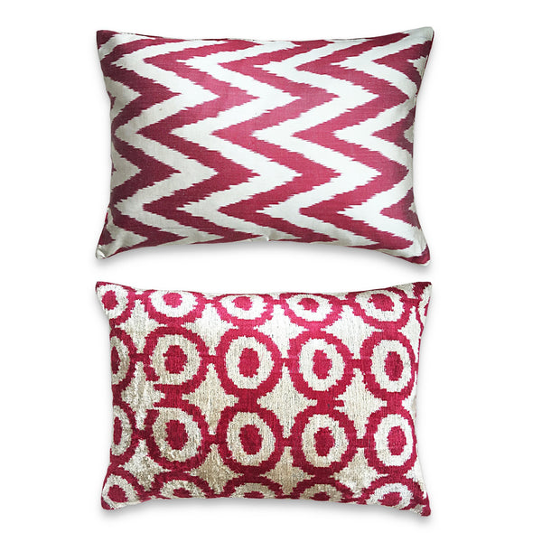 The Roaming Chair cushion Authentic Ikat Cushion Double Sided Velvet/Silk 40x50cm - Tashkent