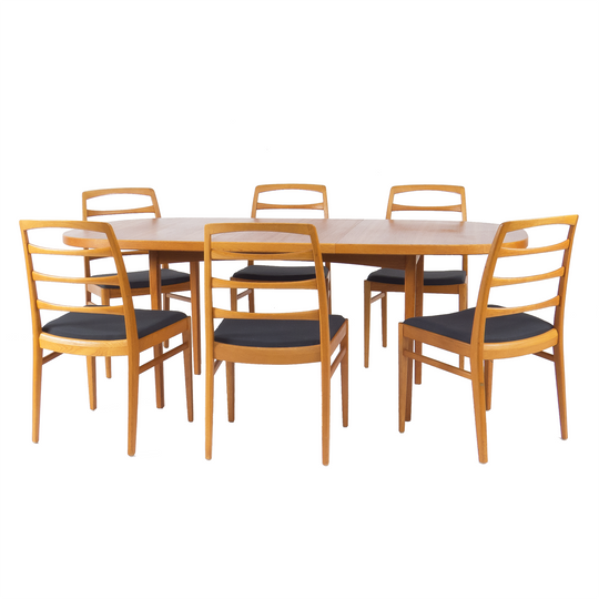 The Roaming Chair Dining table and chairs Extendable Dining Table + 6 chairs Sweden Vintage 1960s