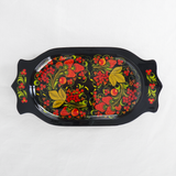 The Roaming Chair Dish Lacquerware Serving Dish 26 x 14 cm - Hand Painted Khokhloma