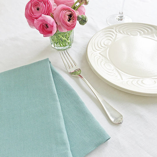 The Roaming Chair Napkin Linen Napkins Pair 47x47cm - Aqua