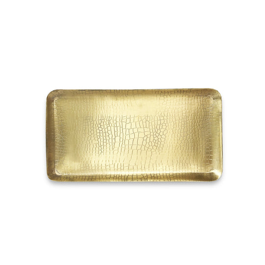 The Roaming Chair Plate Brass Rectangular Tray 'Crocodile' 33x17cm
