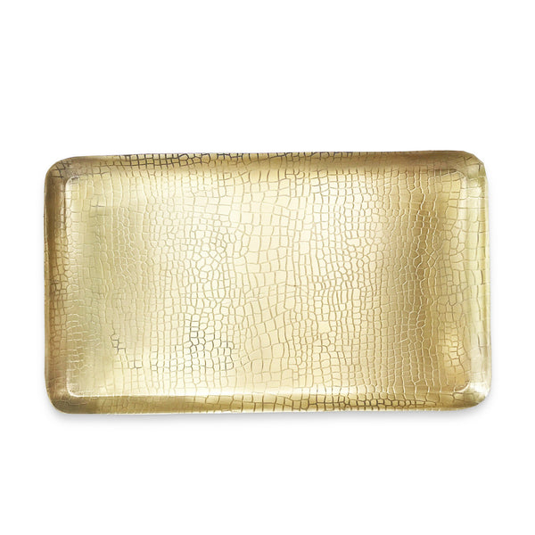 The Roaming Chair Plate Brass Rectangular Tray 'Crocodile' 38x22cm