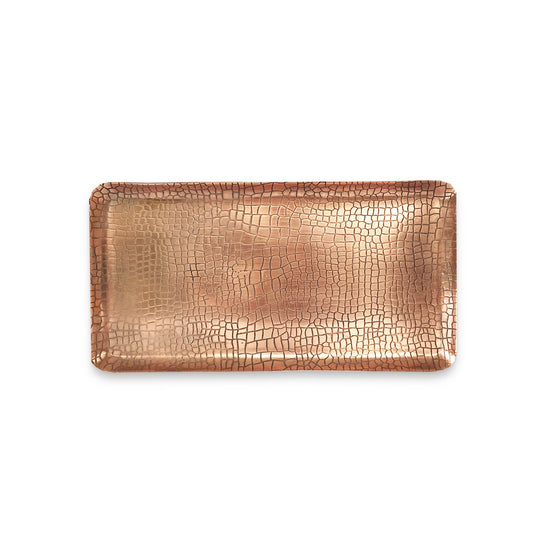 The Roaming Chair Plate Copper Rectangular Tray 'Crocodile' 33x17cm