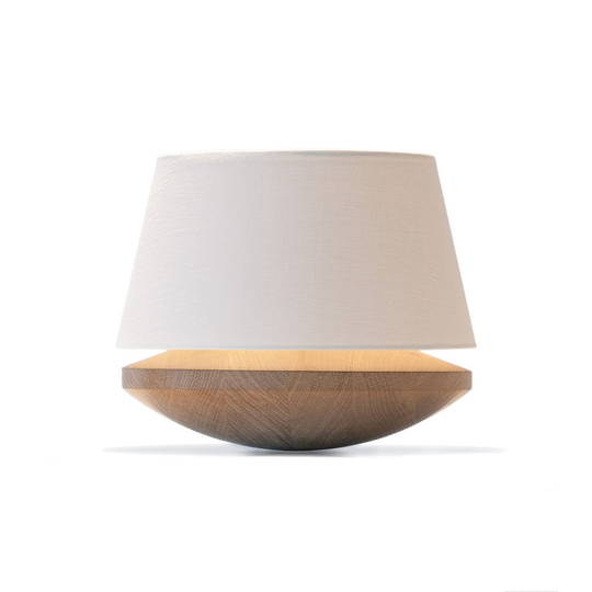 Bedside Lamp With Dimmer - Oak & White Linen