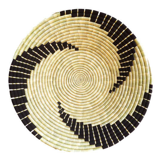 The Roaming Chair wall plate African Woven Wall Basket Bahari Black