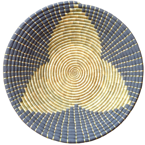 The Roaming Chair wall plate African Woven Wall Basket Maua Grey