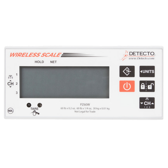 Cardinal Detecto PZ60W 60 lb. Stainless Steel Pizza Scale with Wireless Digital Display and Touchless Tare