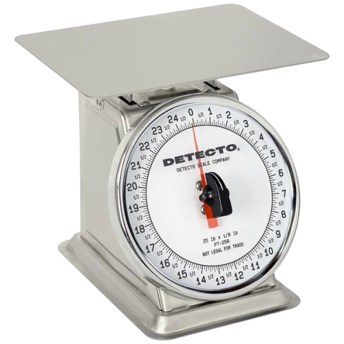 Cardinal Detecto PT-25-SR 25 lb. Stainless Steel Mechanical Portion Control Scale with Rotating Dial