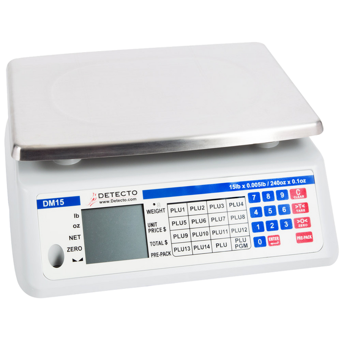 Cardinal Detecto DM15 15 lb. Digital Price Computing Scale with Thermal Label Printer