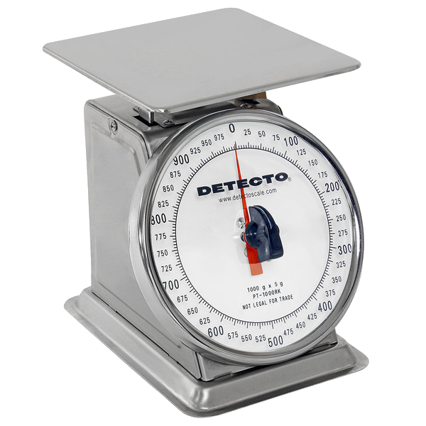 Cardinal Detecto PT-1000SRK 1000 g. Stainless Steel Mechanical Portion Control Scale with Rotating Dial