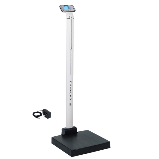 Cardinal Detecto APEX-AC 600 lb. Eye-Level Digital Clinical Scale with Mechanical Height Rod and AC Adapter